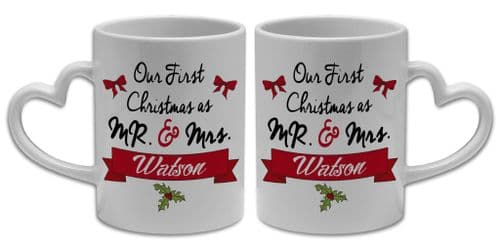 Our 1st Christmas as Mr & Mrs Heart Shaped Handle 11oz Mugs