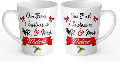 Pair of Personalised 'Our First Christmas As Mr & Mrs' Novelty Gift Latte Mugs