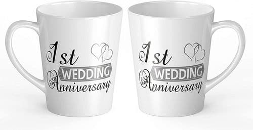 Pair of Wedding Anniversary - Two Hearts (1st-70th) Novelty Gift Latte Mugs