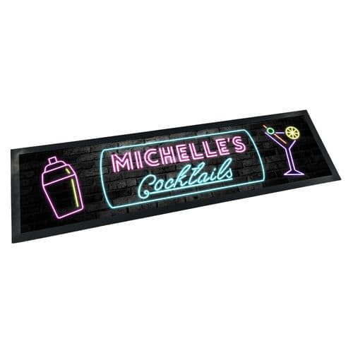 Personalised Any Name Cocktails (Neon) Rubber Bar Runner/Bar Mat