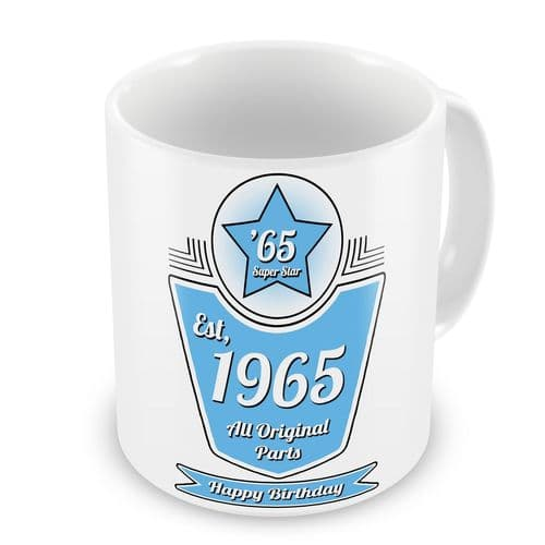 Personalised Any Year Happy Birthday All Original Parts Novelty Gift Mug - Blue