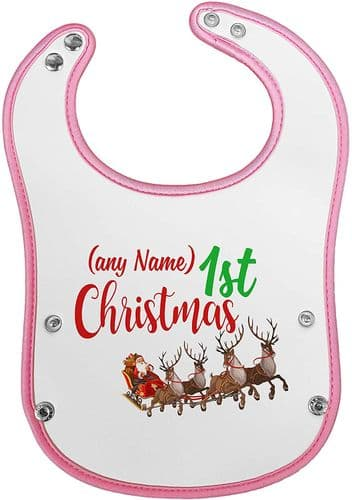 Personalised Baby's 1st Christmas (Penguin) Novelty Waterproof Neoprene Pink/Blue (2)