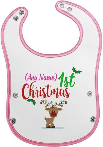 Personalised Baby's 1st Christmas (Reindeer) Novelty Waterproof Neoprene Pink/Blue