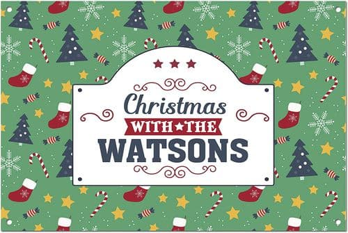 Personalised Christmas with The (Family Name) White Aluminium Metal Sign