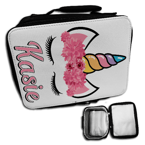 Personalised Cute Floral Unicorn Insulated Lunch Bag - Black