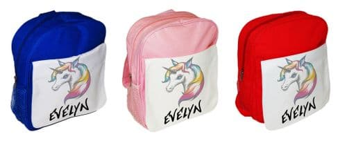 Personalised Cute Rainbow Unicorn Children's School Bag Rucksack Backpack