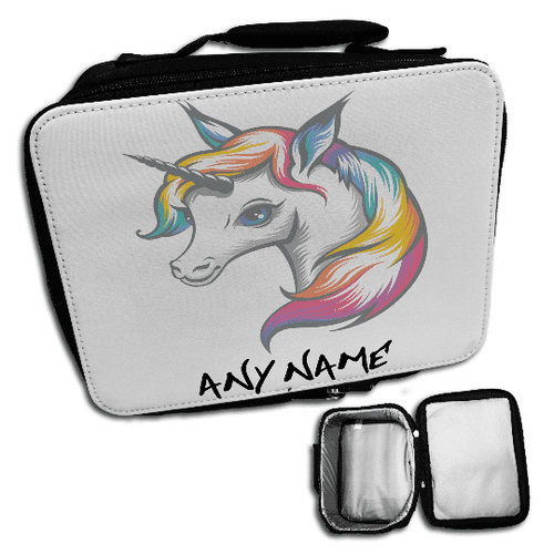Personalised Cute Rainbow Unicorn Insulated Lunch Bag - Black