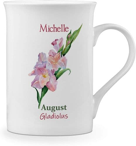 Personalised Flower of The Month August Novelty Gift Fine Bone China Mug