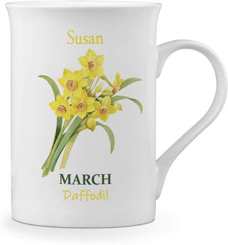 Personalised Flower of The Month March Novelty Gift Fine Bone China Mug