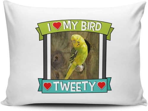 Personalised I Love My Bird (Any Name & Any Image) Cute Gift Pillow Case