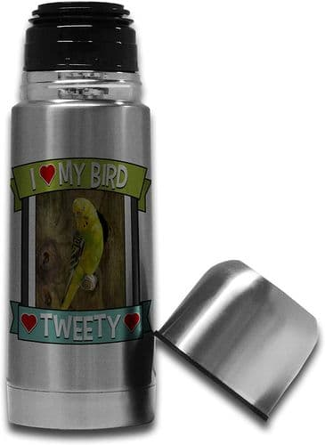 Personalised I Love My Bird (Any Name & Any Image) Cute Stainless Steel Thermos Vacuum Flask - 350ml