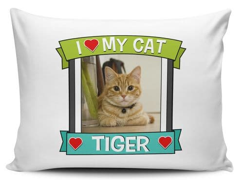 Personalised I love My Cat (Any Name & Image) Cute Novelty Pillow Case