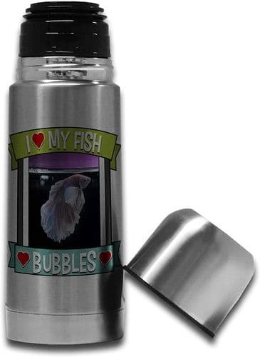Personalised I Love My Fish (Any Name & Any Image) Cute Stainless Steel Thermos Vacuum Flask - 350ml