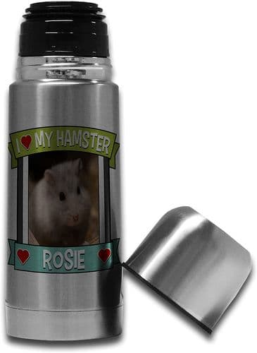 Personalised I Love My Hamster (Any Name & Any Image) Cute Stainless Steel Thermos Vacuum Flask - 35