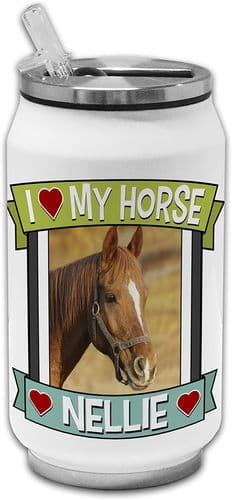 Personalised I Love My Horse (Any Name & Any Image) Cute Novelty Stainless Steel Thermos Drinking C