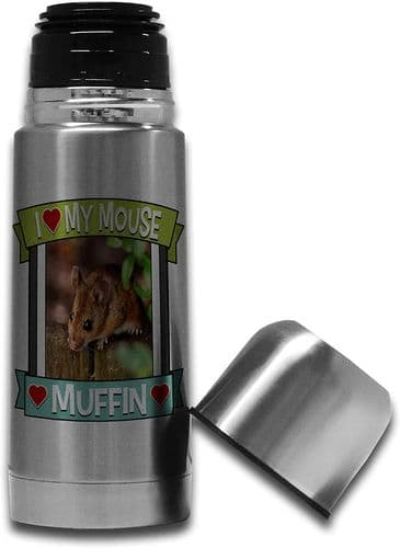 Personalised I Love My Mouse (Any Name & Any Image) Cute Stainless Steel Thermos Vacuum Flask - 350m