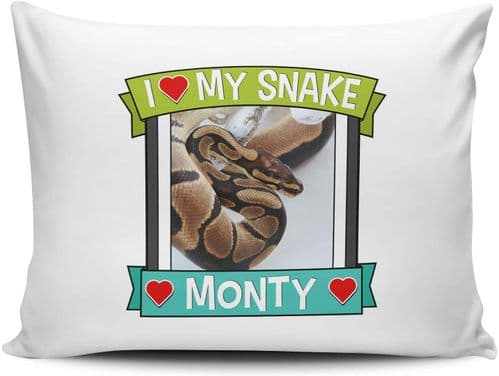 Personalised I Love My Snake (Any Name & Any Image) Cute Gift Pillow Case