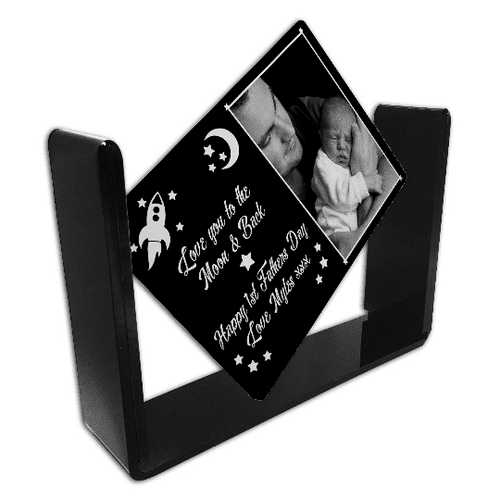Personalised Love You To The Moon & Back - Happy 1st Fathers Day Printed Glass Swivel Frame