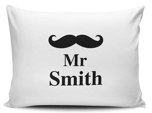 Personalised Moustache Mr Pillow Case