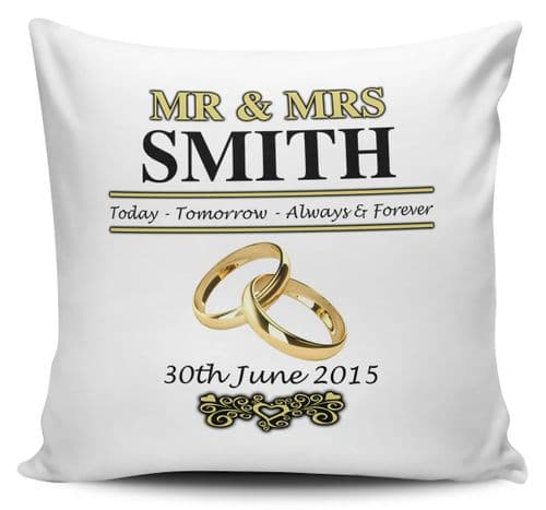 Personalised Mr & Mrs Wedding Day Cushion Cover