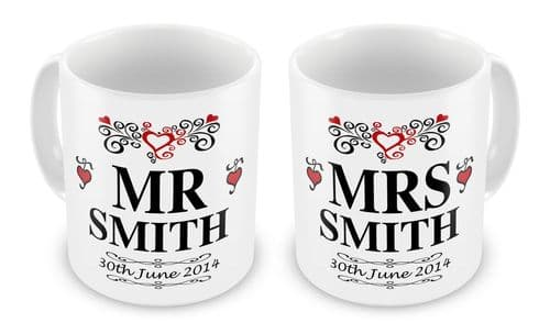 Personalised Mr & Mrs With Date Wedding Novelty Gift Mugs Set
