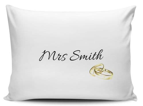 Personalised Mrs Gold Rings Pillow Case