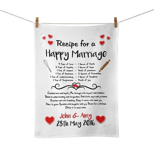 Personalised Recipe for A Happy Marriage Tea Towel