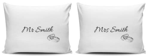 Personalised Set Of Mr & Mrs Silver Rings Pillow Cases