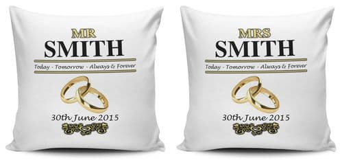 Personalised Set of Mr & Mrs Wedding Day Cushion Cover