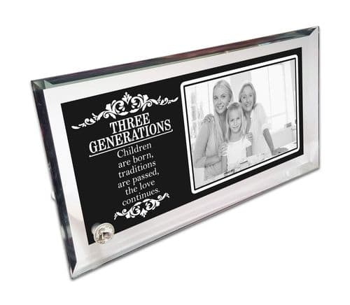 Personalised Three Generations Crystal Photo Frame