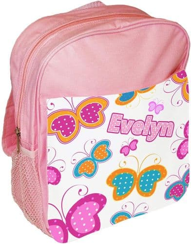 Roll over image to zoom in  Personalised Cute Butterfly Childrens School Bag Rucksack Backpack
