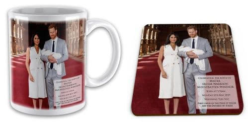 Royal Baby Master Archie Harrison Mountbatten-Windsor Mug w/ Coaster Gift Set