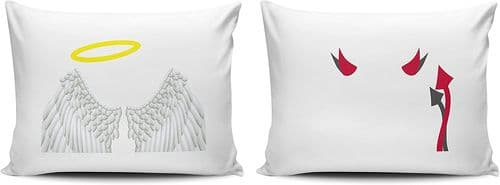 Set of Angel and Devil Blessed and Wicked Funny Pillow Cases