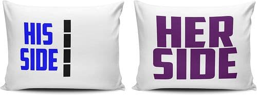 Set of His And Her Side Pillow Cases