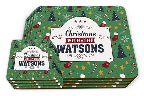 Set of Personalised Christmas with The (Family Name) Novelty Glossy Placemat & Coaste