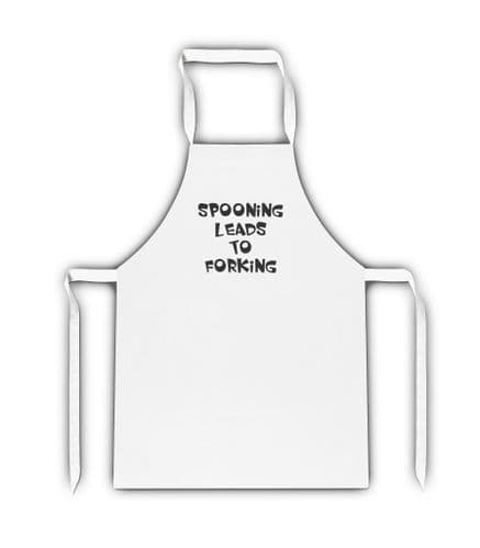 Spooning Leads To Forking White Adult Apron