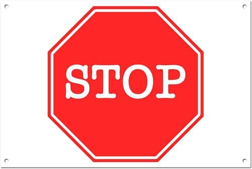 Stop Brushed Aluminium Metal Sign