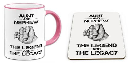 The Legend And The Legacy Novelty Gift Mug with Coaster - Pink Handle / Rim