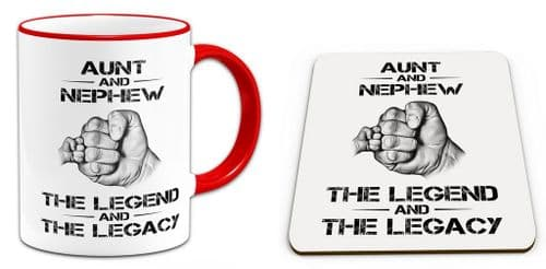 The Legend And The Legacy Novelty Gift Mug with Coaster - Red Handle / Rim