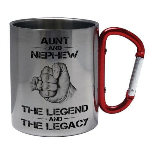 The Legend And The Legacy Novelty Steel Mug with Carabiner Handle