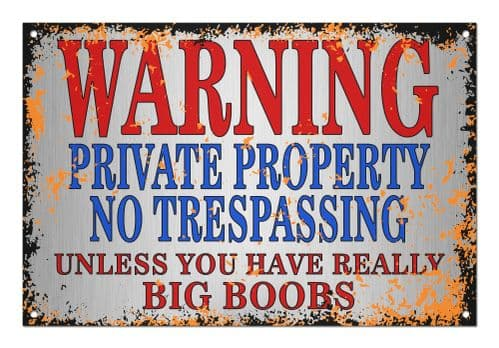 Warning Private Property Aluminium Metal Sign
