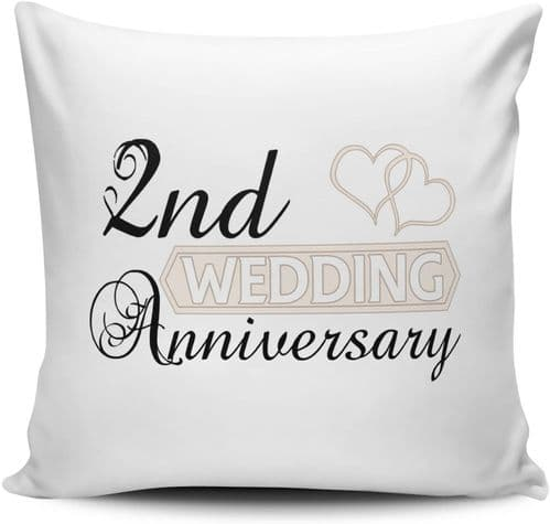 Wedding Anniversary (2nd Cotton) - Two Hearts Novelty Cushion Cover