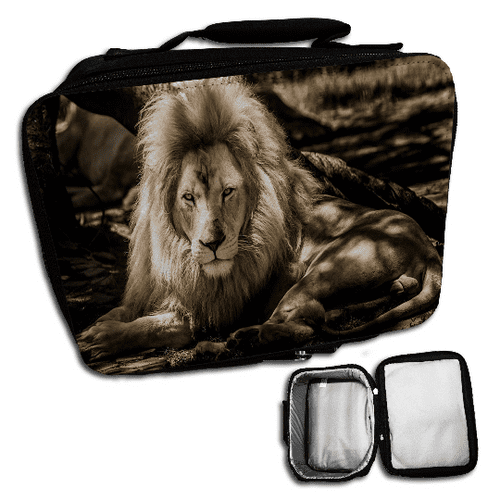 Wild Lion Cute Insulated Lunch Bag - Black