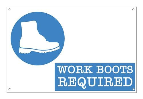 Work Boots Required Brushed Aluminium Metal Sign