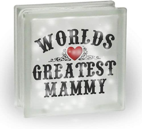 Worlds Greatest (Female Titles) Novelty Frosted View Decoration Glass Block w/White Lights