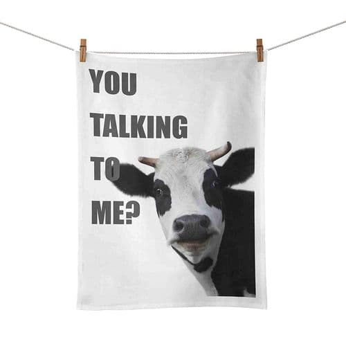 You Talking to Me Cow Funny Tea Towel