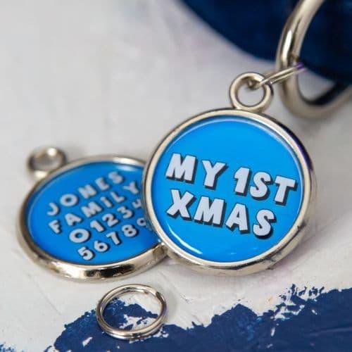 1st Christmas Dog Tag - Blue