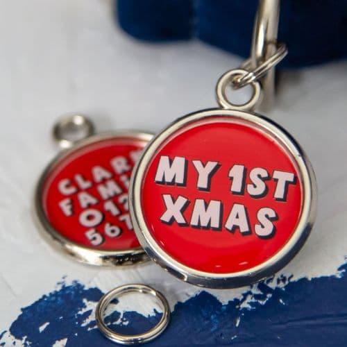 1st Christmas Dog Tag - Red
