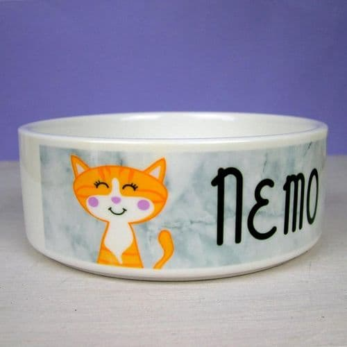 Personalised Cat Bowl - Marble