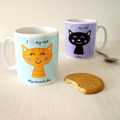 Personalised Cat Mug - Polka Dot